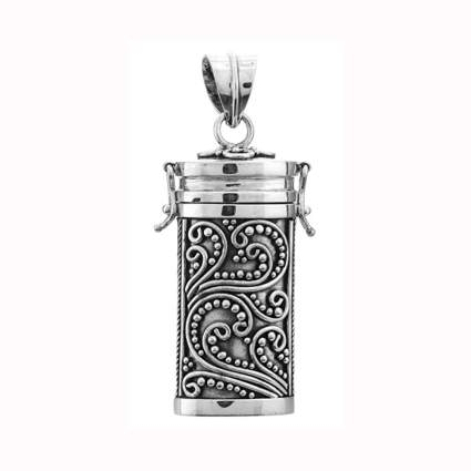 sterling silver filigree locket prayer box pendant