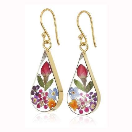 sterling silver pressed flower earrings