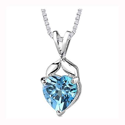 sterling silver swiss blue topaz heart necklace