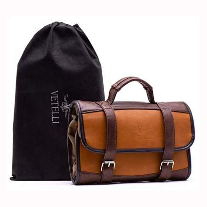 men's suede look hanging toiletry bag