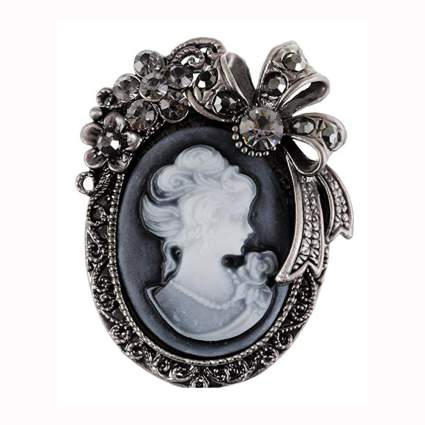 vinage cameo crystal bow brooch