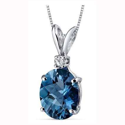 white gold london blue topaz and diamond necklace