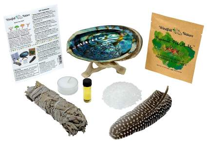 Home cleansing kit with candle and sage