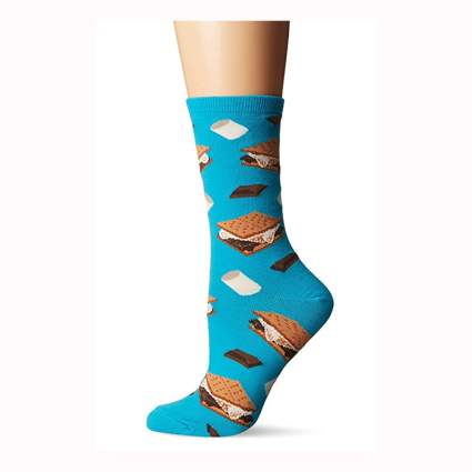 womens blue s'mores printed socks