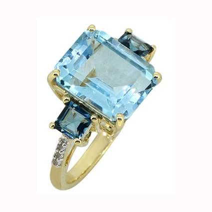 14k gold blue topaz three stone cocktail ring