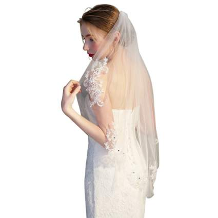 Crystal Beaded wedding veil