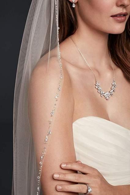 Delicate Scattered Crystal Fingertip Veil Style