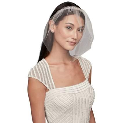 Crystal Headband Tulle Blusher Style