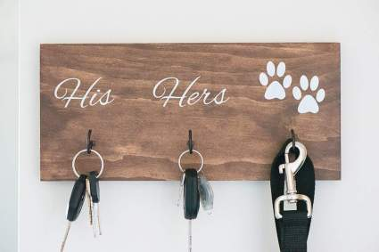 Wall Mounted His Hers and Paws Leash and Key Holder