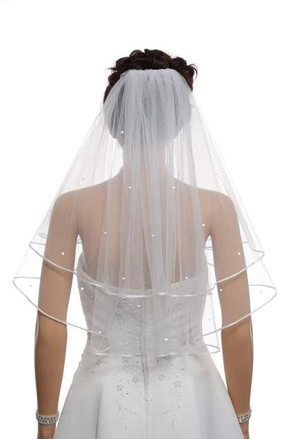 Crystal Ribbon Edge Veil