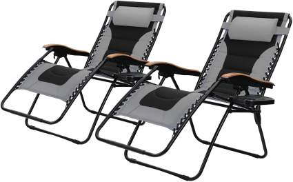 PHI VILLA Oversize XL Padded Zero Gravity Lounge Chairs