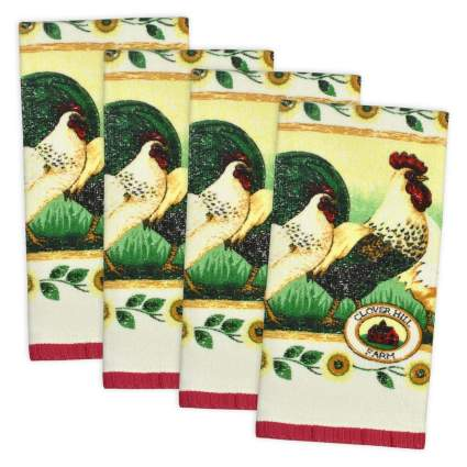 "DII, 100% Cotton, Kitchen Dishtowel, Ultra Absorbant 15x26"", Set of 4, Rooster"