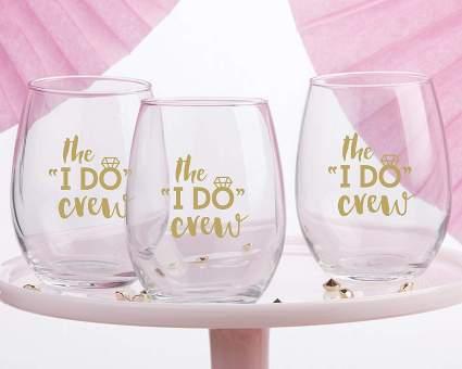 The I Do Crew Stemless Wine Glass Set