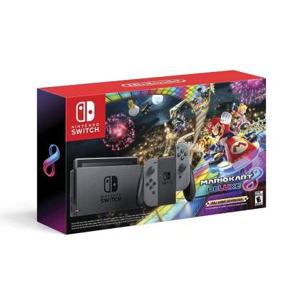 Nintendo Switch with Gray Joy-Con and Mario Kart 8