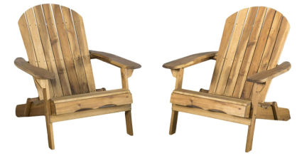 Christopher Knight Home Set of Two Folding Wood Adirondack Chairs