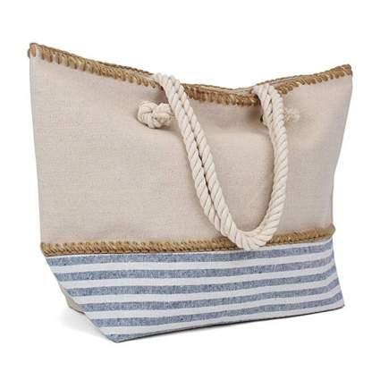tan and blue beachy tote bag
