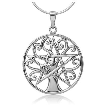Light silver star with tree of life pendant