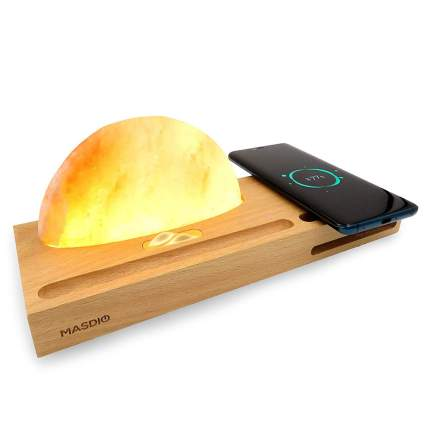 Wooden phone charger with salt lamp