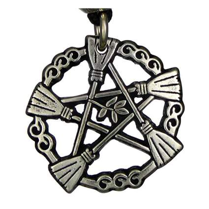 Pentacle pendant made of brooms