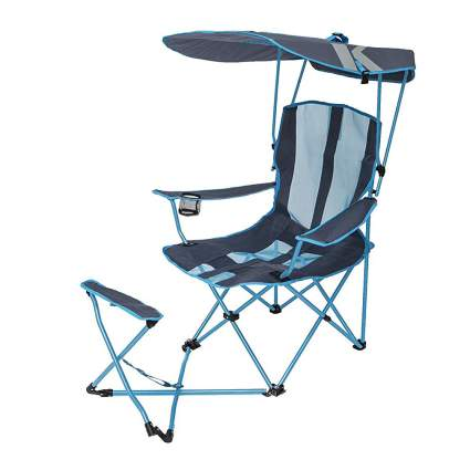 Blue camp chair with canopy