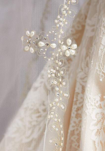 Metallic Stitched Floral Wedding Veil