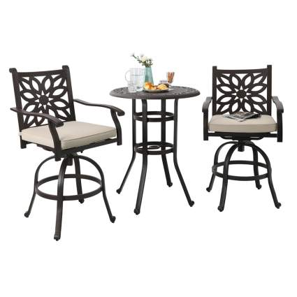 aluminum pub height bistro set