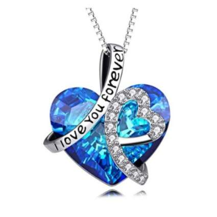 AOBOCO Sterling Silver I Love You Forever Heart Pendant Necklace with Blue Swarovski Crystals
