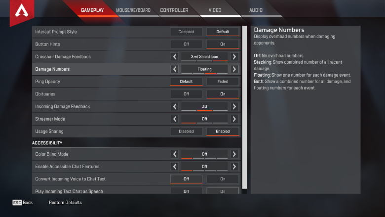 Apex Legends Damage Numbers