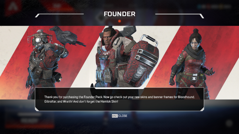 Apex Legends Founders Pack Skins