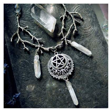 Elaborate pentacle necklace with crystals and branches