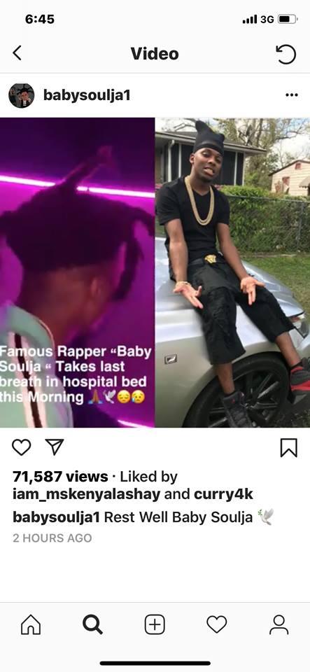 Baby Soulja rapper not dead