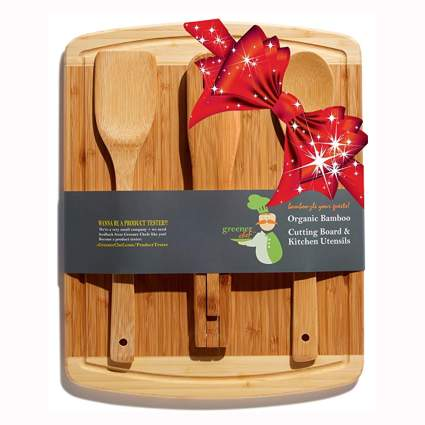 bamboo cutting board and utensil set