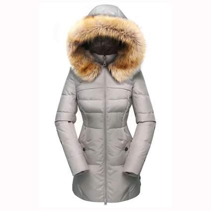 grey down jacket with fur hood