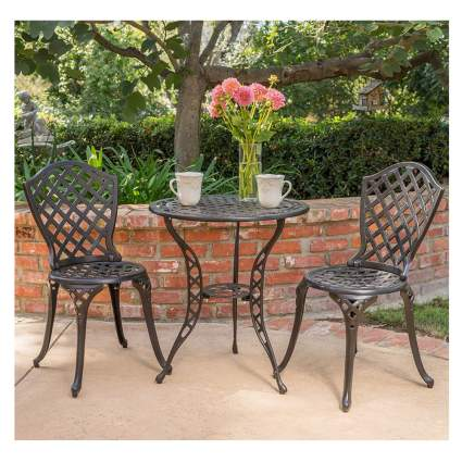 bronze metal outdoor bistro set