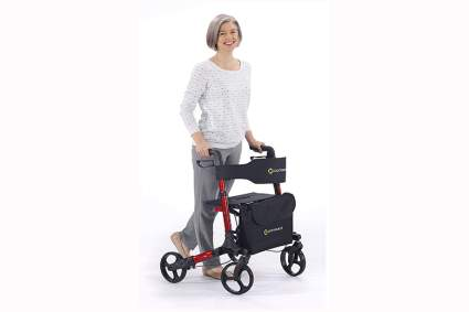 red compact four wheel walker