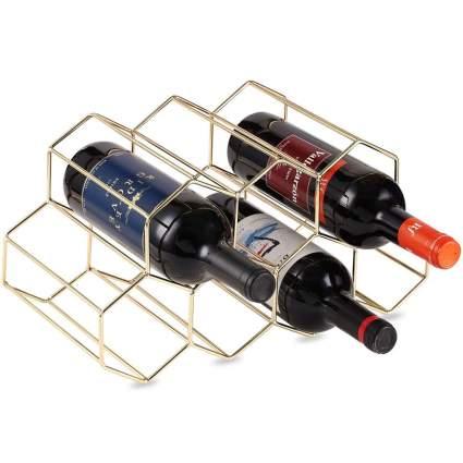 gold geometric wine holder