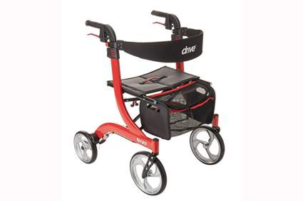 european style red rollator walker