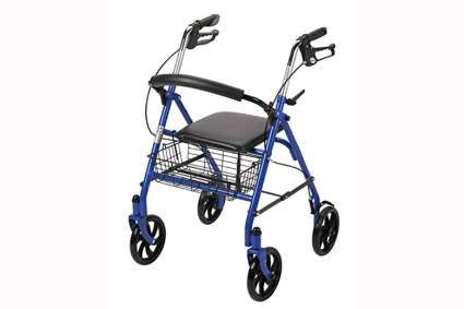 blue four wheel walker with folding seat