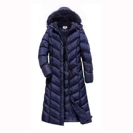 navy maxi puffer coat with hood