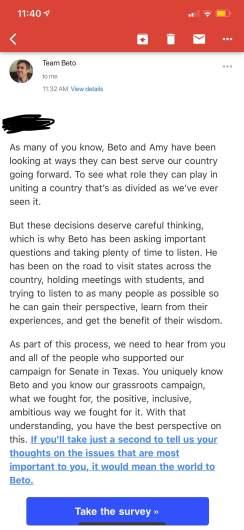 Beto survey email