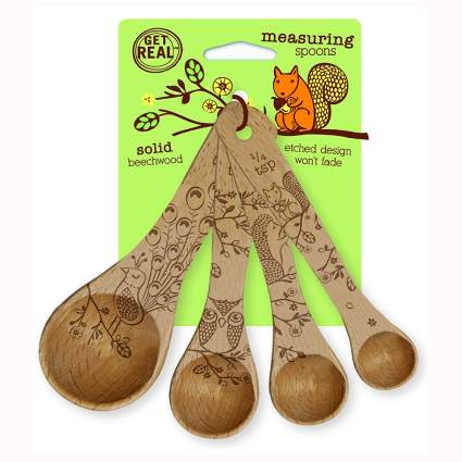 etched beechwood measuring spoons