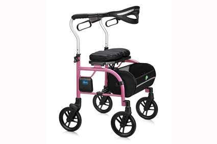 pink lightweight rollator walker