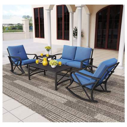 five piece metal outdoor furniture set