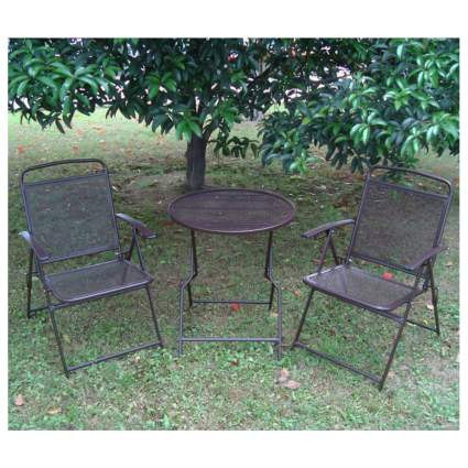 folding wrought iron bistro set