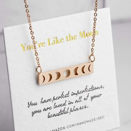 Rose gold moon cut out necklace