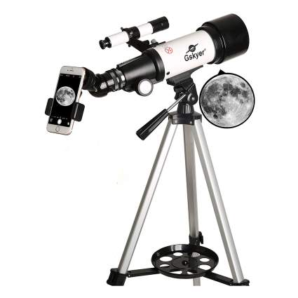 black and white telescope with smartphone