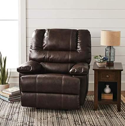 Home Joy Overstuffed Leather Recliner