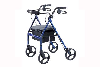 blue portable four wheel walker
