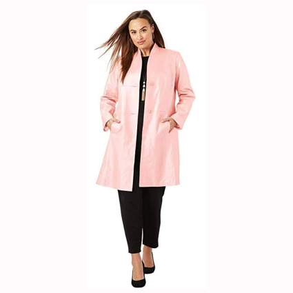 pink leather plus size swing coat