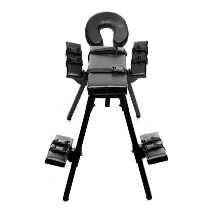 Black bench chair with restraints